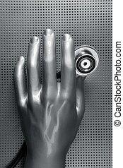 Health stethoscope futuristic silver hand
