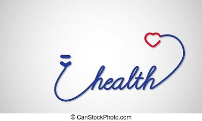 Health - stethoscope with heart icon. Healthcare medical concept motion graphic footage
