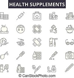 Health supplements line icons for web and mobile. Editable stroke signs. Health supplements outline concept illustrations