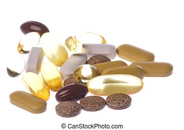 Health Supplements Macro Isolated - Isolated macro image of...