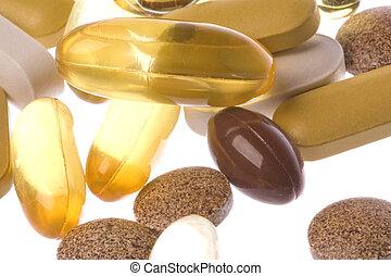 Health Supplements Macro Isolated - Isolated macro image of...