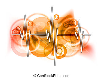 health symbol - cardiograph on the red background