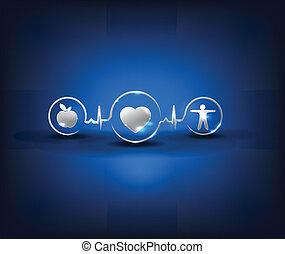 Health symbols, conceptual design - Heart health care...