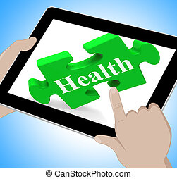 Health Tablet Shows Wellness And Fitness On Web
