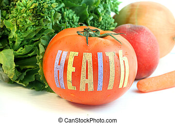 health tomato - ripe fresh tomato with the word health and...