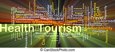 Health tourism background concept glowing