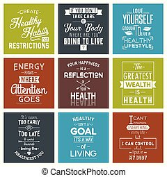 Health. Typography quotes. - Health Typography quotes set....