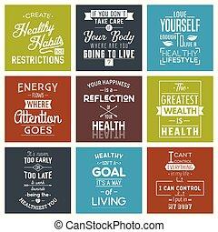 Health. Typography quotes. - Health Typography quotes set. ...