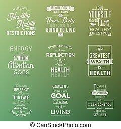 Health. Typography quotes. - Health Typography quotes set....