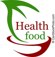Health vegetarian food icon with a stylized bowl and green leaf with the text - Health Food - in green and brown symbolising bio or organic food for a healthy diet