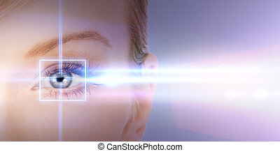 woman eye with laser correction frame - health, vision, ...