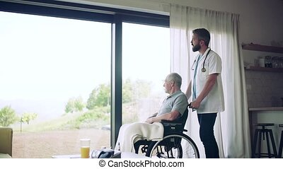 Health visitor and a senior man in wheelchair during home visit, talking.