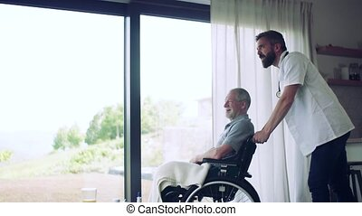 A health visitor and a senior man in wheelchair during home visit, talking.