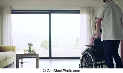 Health visitor and a senior woman with wheelchair during home visit.