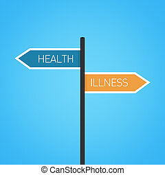 Health vs illness choice road sign concept, flat design
