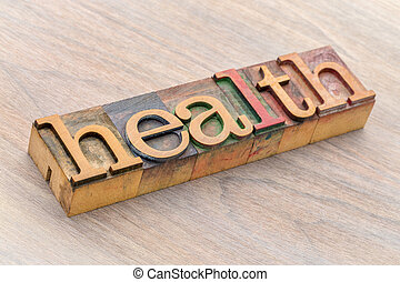 health word abstract in wood type