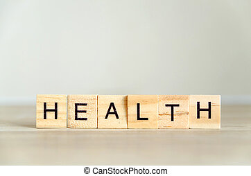 health word background on wood blocks