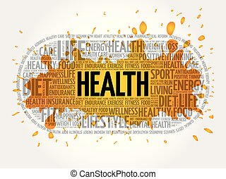 Health word cloud collage, fitness