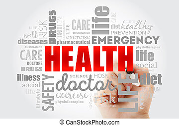 HEALTH word cloud collage with marker