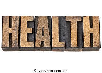 health word in letterpress wood type