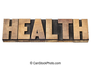 health word in wood type