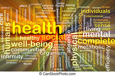 Health wordcloud concept illustration glowing - Background...