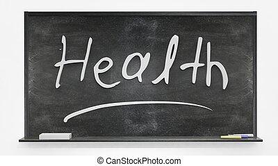 Health written on blackboard