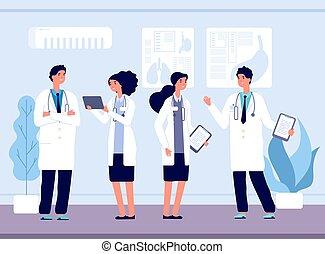 healthcare., チーム, hospital., イラスト, 看護, 話し, ベクトル, 医者, スタッフ, 仕事, 医学医院, 微笑