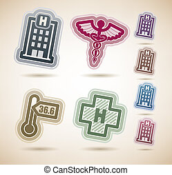 4 medicine and healthcare icons, from left to right, top to bottom: Hospital building, Medicine sign, Thermometer, Hospital sign. Desert colors icons set contains 8 different color versions on the brown background, each color placed on a separate layer. The artwork contain a transparent shadow ...