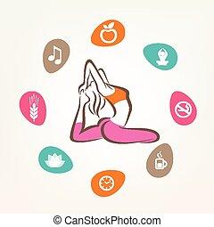 healthcare and fitness infographics, harmonic life style, yoga