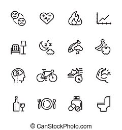 Healthcare and healthy lifestyle icons set, Vector line icon
