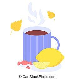 Healthcare and medical treatment concept. Folk remedies for disease treatment. Seasonal flue treatment. Cup of hot tea with lemon. Flat vector illustration