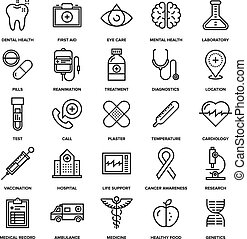 Healthcare and Medicine - Abstract vector collection of line...