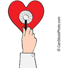healthcare and medicine concept - close up of male doctor hand holding red stethoscope on red heart, vector illustration, eps 10