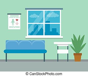 Healthcare and medicine concept. Modern empty medical clinic reception interior with furniture. Flat style. Vector illustration