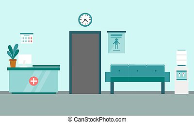 Healthcare and medicine concept. Modern medical clinic reception interior with furniture. Flat style. Vector illustration