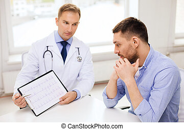 doctor with clipboard and patient in hospital
