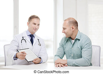 doctor with clipboard and patient in hospital - healthcare ...