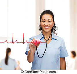 smiling female african american doctor or nurse - healthcare...