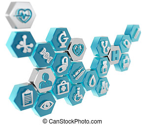 healthcare and medicine icons, 3d illustration - healthcare...