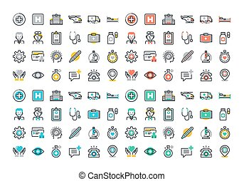 Healthcare and medicine icons set - Flat line colorful icons...