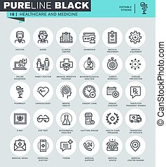 Healthcare and medicine icons set - Thin line icons set of...