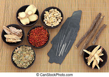 Healthcare and Medicine - Acupuncture needles with chinese...