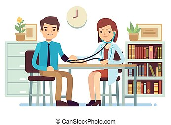 Healthcare and medicine vector concept with doctor checking patients blood pressure