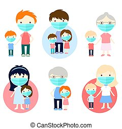 Healthcare and sickness prevention. Family wearing protective medical mask for prevent virus. Dad, mom, daughter son, grandma and grandpa wearing a surgical mask. Vector EPS8
