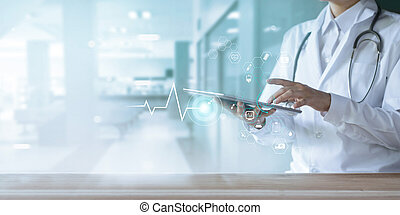 Healthcare and technology, Doctor using digital tablet with icon medical network on hospital background
