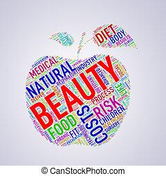 Healthcare apple shape wordcloud beauty