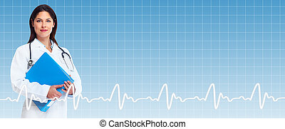Healthcare background. Smiling friendly medical doctor woman.