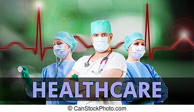 healthcare, baggrund, hos, doktorer