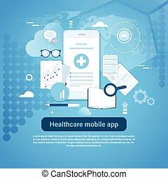 healthcare, bannière, gabarit, app, copie, mobile, toile, espace